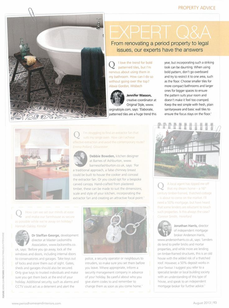 Period Homes & Interiors - August 2013. Advice from our resident expert on decorating with patterned floor tiles.