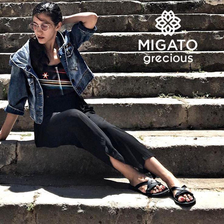 Ελένη Βαϊτσου-Eleni Vaitsou in #MIGATOgrecious IMI034M leather sandals!  Shop link ► bit.ly/IMI034M-L14en