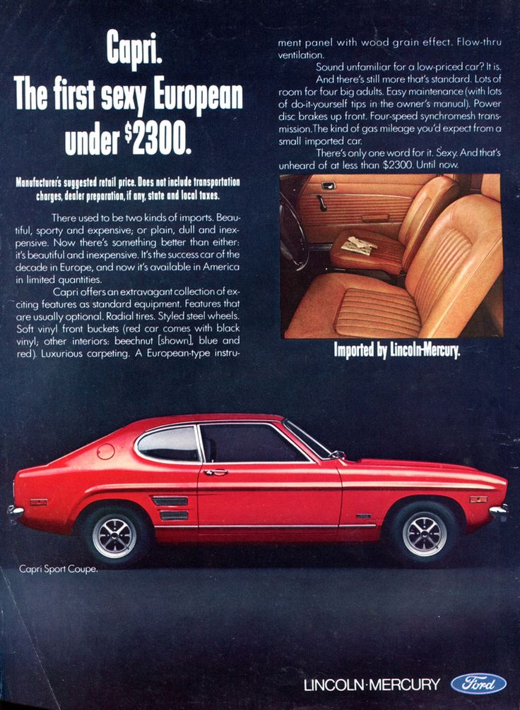 1970 Ford Lincoln Mercury Capri Sport Coupe Advertising Road & Track July 1970 by SenseiAlan on Flickr.