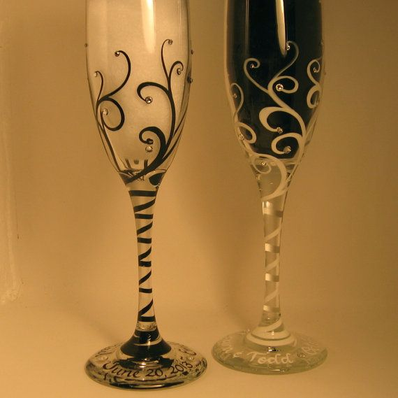 Wedding Toasting Flutes Personalized In Calligraphy Hand Painted Swirls With