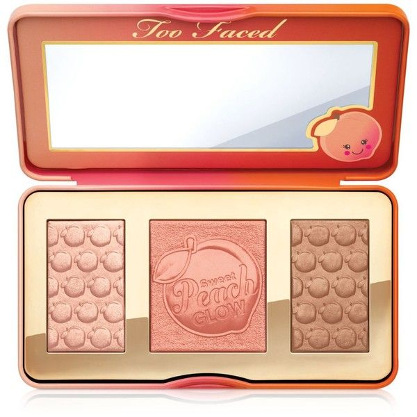 Too Faced Sweet Peach Glow Highlighting Palette found on Polyvore featuring beauty products, makeup, no color, too faced cosmetics, palette makeup and highlight makeup