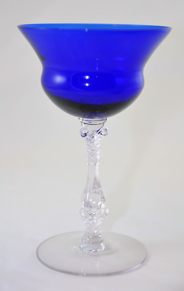 Cambridge 3126 Royal Blue Cobalt & Crystal stemware 6.5 high lot#35