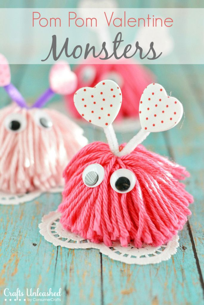 Cutest Valentines Crafts for Kids - Pom pom Valentine Monsters #PomPom #Valentines #KidsCraft