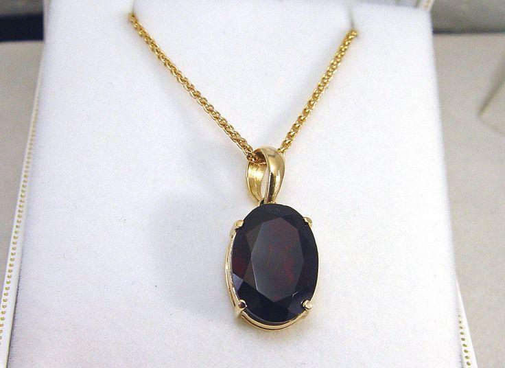 """10K Yellow Gold 18"""" Wheat Chain w/14K Gold 7CT Garnet Pendant - 5.25 Grams #Chain #Pendant #Garnet"""