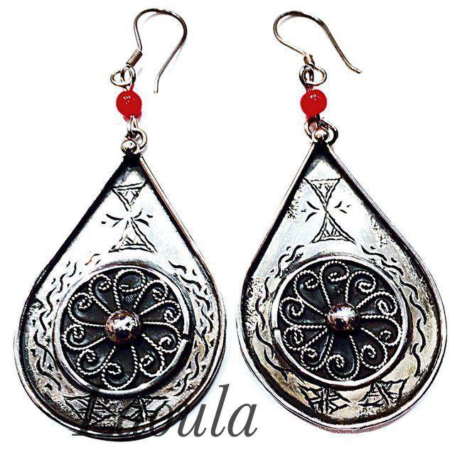 Boucles d'oreilles touareg argent ovale 2, bijoux ethniques rondes 258486