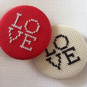 oversized love cross stitch button badge by magasin | notonthehighstreet.com