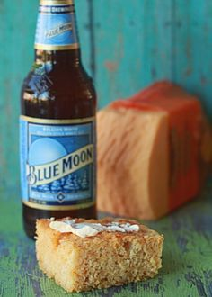 """Cheddar and Beer Cornbread! What a unique and DELISH recipe find! Beer (Blue Moon suggested), lots of sharp cheddar cheese and coarse-ground cornmeal. """"A little dry mustard and smoked paprika accent the flavors of the cheese and the beer."""" YUM! Grab the butter and enjoy!"""
