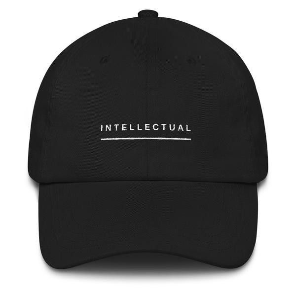""" Intellectual' Dad hat ($25) ❤ liked on Polyvore featuring accessories, hats, sun visor hat, sun visor, 6 panel hat, buckle hats and visor hats"