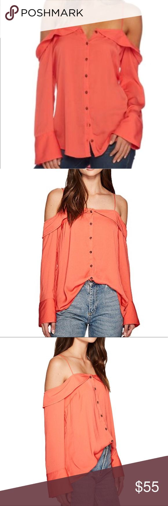 Free People off the shoulder orange top Free People off the shoulder orange top. button details on the sleeves. i add different picture to how different ways of wearing it. new with tag size small.  -No Stains, no holes, no rips, no fading. item is in great conditions.   -Color may slightly vary from photo.  -I work to provide quality products and the best customer service. All of my items are in great conditions. i would not sale something in a condition i would not wear. please message me…