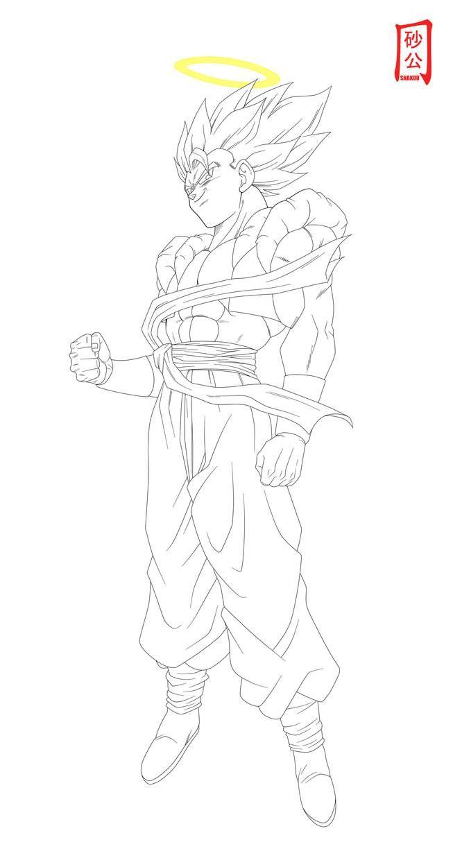 Gogeta Cool Lineart By Snakou On Deviantart Dragon Ball Super Artwork Dragon Ball Artwork Dragon Ball Art