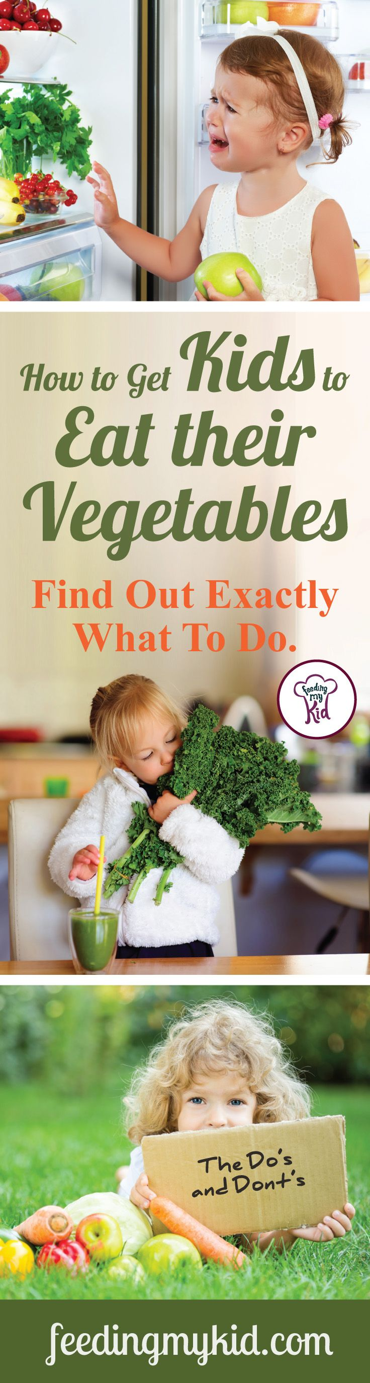 This is a must pin! Find out how to get kids to eat their vegetables! Stop your picky eater's picky eating habits in their track with these easy tips! Feeding My Kid is a website for parents, filled with all the information you need about how to raise your kids, from healthy tips to nutritious recipes. #pickyeating #pickyeater #tips #howto