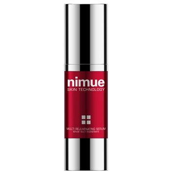 Multi Rejuvenating Serum. A high performance treatment booster for ageing and environmentally damaged skin. The serum contains Vitamin C, in stable form. Biomimetic peptides stimulate natural skin processes and a mineral complex and innovative anti wrinkle ingredients offer the ultimate treatment in skin rejuvenation. 30ml. Nimue Skin Technology.