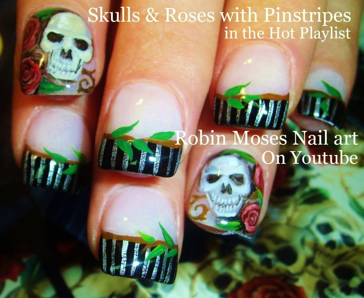 166 best halloween nail art pictures with tutorials images on skulls and roses nail art prinsesfo Images