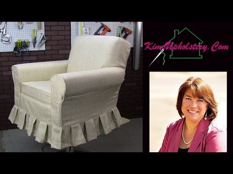 Great tutorial for how to pin fabric on chair when making a slipcover