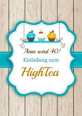 Einladungskarte zum High-Tea-Geburtstag in trendy Holz-Landlook mit süßen Cupcakes - die Jahreszahl passen Sie an.