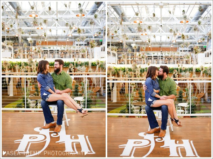Engagement Photos At Anaheim Packing House Giant Chair, Kiss, Natural Light  ©Asea Tremp