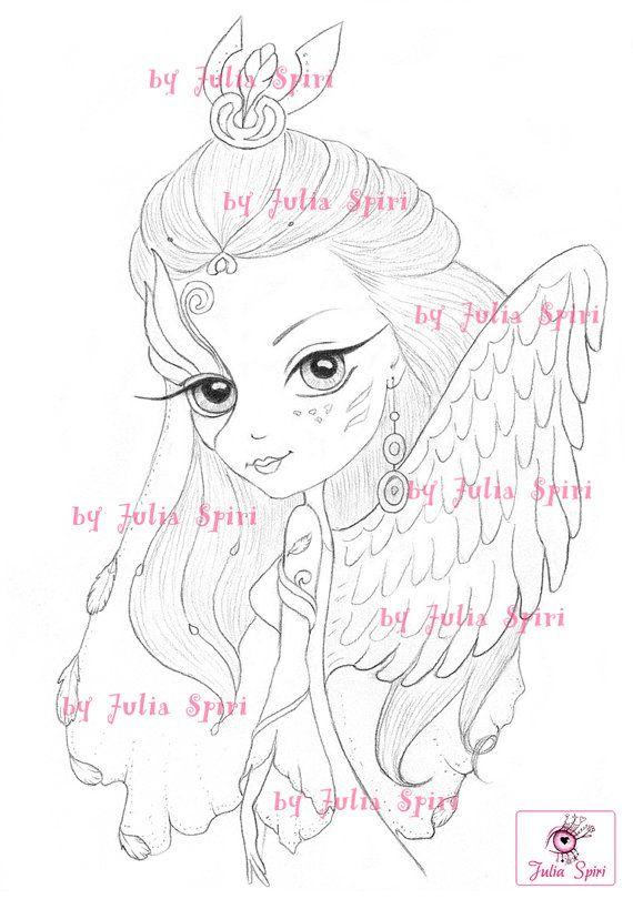 Digital stamps Angel Digi Fantasy Angels Mask Wings by JuliaSpiri