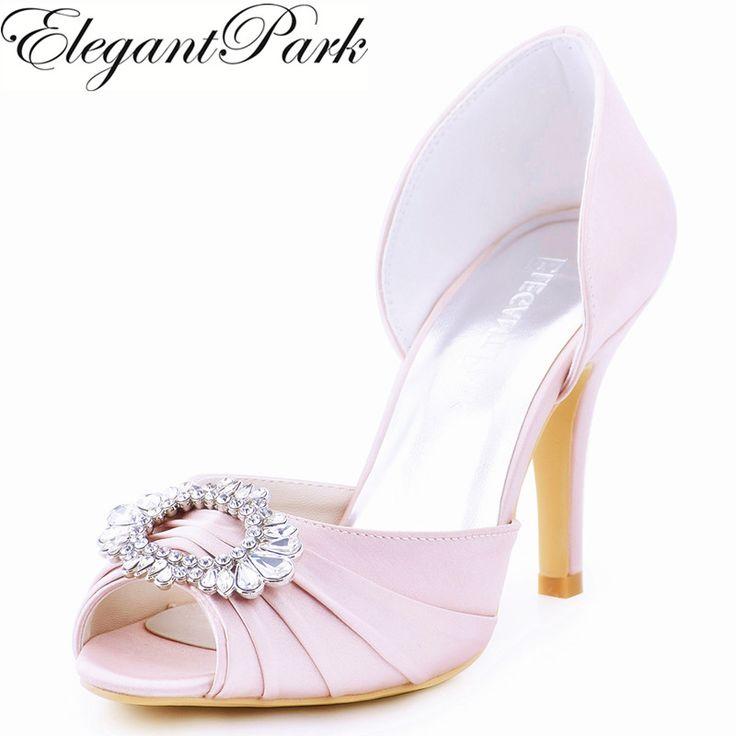 Woman Light Pink High Heel Shoes  Bridesmaids Peep Toe Rhinestones Bride Satin Prom Evening Bridal Wedding Pumps A2136 Green Red #Affiliate