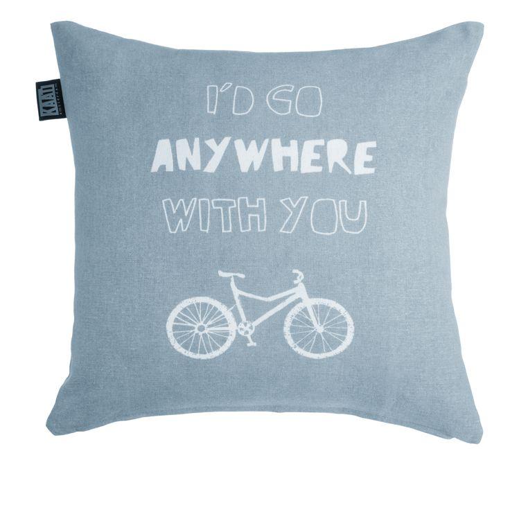 Sierkussen KAAT Anywhere Bluegrey - NIEUWE COLLECTIE | Cushion KAAT | http://www.livengo.nl/beddengoed/sierkussens | #kussentje #blauw #tekst #livengo