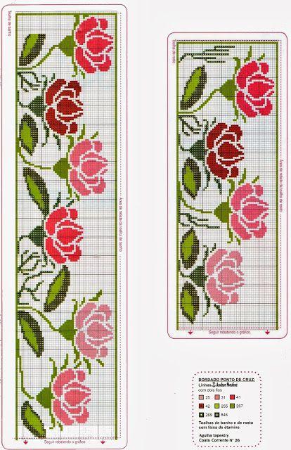 Schemi a punto croce gratuiti per tutti: Raccolta di bordi a tema rose