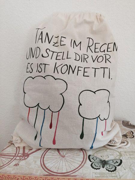 Jutebeutel - Jutebeutel Turnbeutel tanze im Regen Festival hip - ein Designerstück von Berlin-Art bei DaWanda