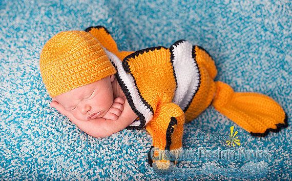 Clownfish Costume for Baby - Finding Nemo set - Cocoon and Hat - newborn outfit - photo prop or gift for baby shower on Etsy, $35.00