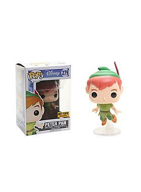 """Peter Pan from Disney's Peter Pan is given a fun, and funky, stylized look as an adorable collectible Pop! vinyl figure from Funko! He's magically flying with a little help from pixie dust. Hot Topic exclusive!Pop! Disney 2793 3/4"""" tall"""