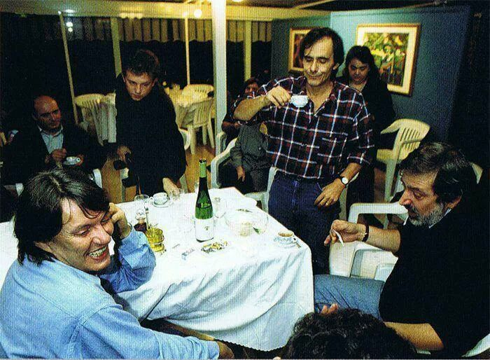 Fabrizio De Andre', Roberto Vecchioni and Francesco Guccini having dinner together