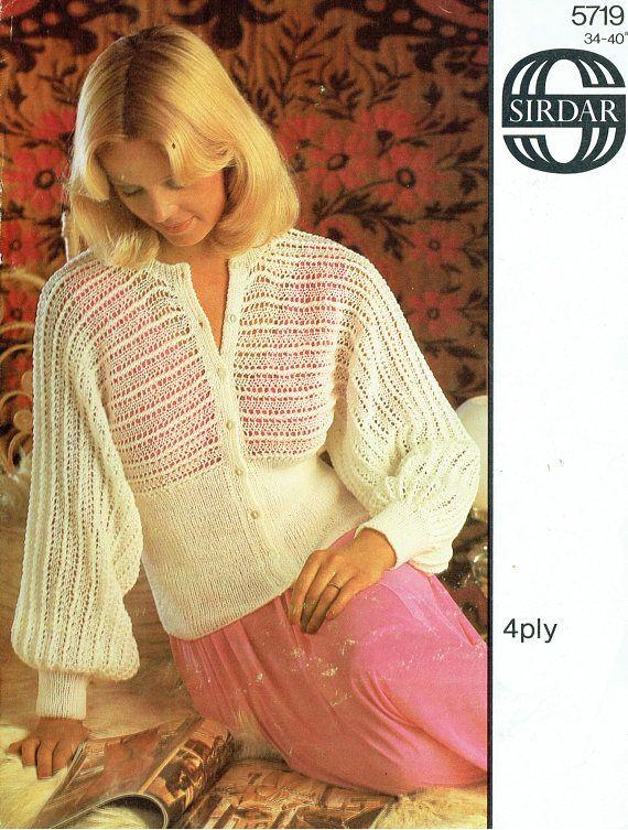 PDF Vintage Womens Ladies Bed Jacket Knitting Pattern 1970s
