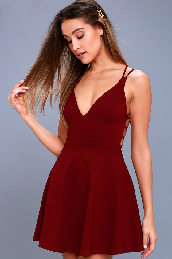 181a54af9cb11 The Believe in Love Wine Red Backless Skater Dress will make a romantic