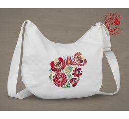 Szervető-matyó félhod táska - fehér
