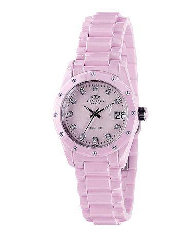 Another great find on #zulily! Pink Ceramic Diamond Bracelet Watch - Women #zulilyfinds