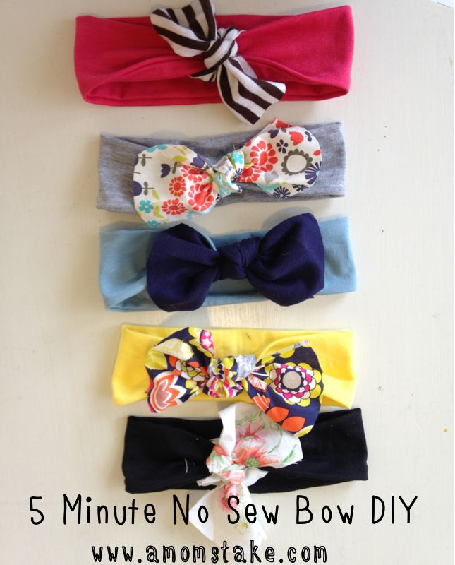 DIY No Sew Headbands in less than 5 minutes and cheap, too!! at #amomstake