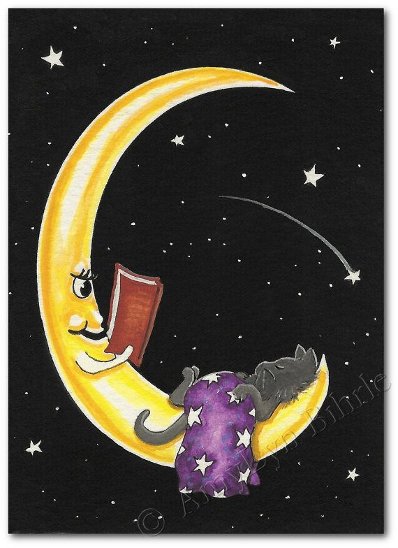 Bedtime Stories - The Moon & Grey Kitty Cat - Art Print or ACEO by Bihrle ck209