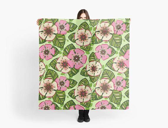 Scarf rainbow flowers scarf/wrap Foulard carré 140 cm