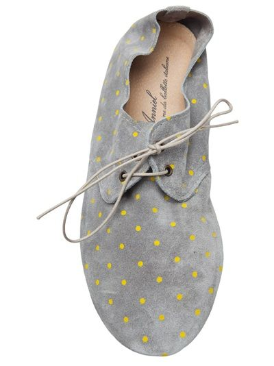 lace up flat ++ anniel: Dots Shoes, Polka Dots, Anniel Lace Up, Suede Shoes, Flats, Lace Up Flat, Grey Shoes