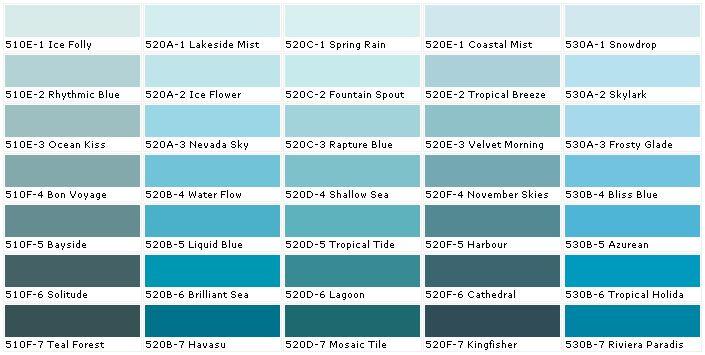 Ocean blue paint colors behr paints chip color swatch - Home depot exterior paint color chart ...