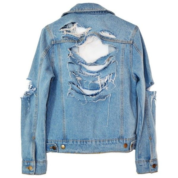 SO RIPPED DENIM JACKET (£80) ❤ liked on Polyvore featuring outerwear, jackets, coats & jackets, shirts and blue