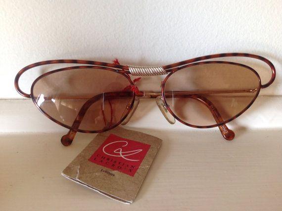 Vintage 80's Christian Lacroix Lunettes Cat's Eye 7355 Sunglasses 100% Authentic Rare Dead Stock Gold