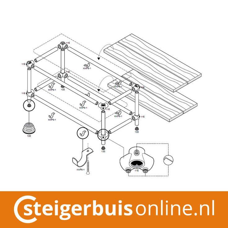 Werktekening (DIY) - TV Meubel van steigerbuis