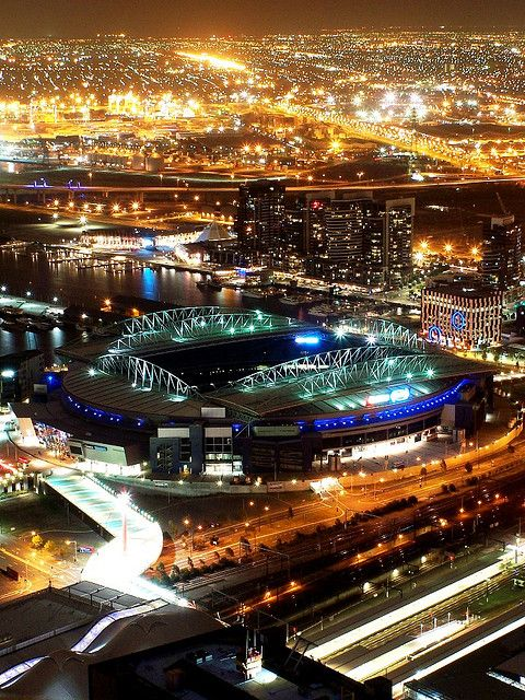 Telstra Dome at Night - taken from the Rialto Towers, Melbourne Australia - by Geof Wilson