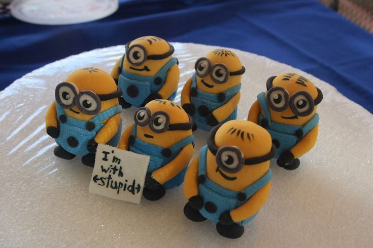 Fondant Minion cake toppers, 6 medium size by HaveSugarWillCreate on Etsy