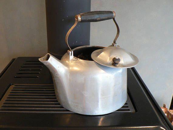 Large Vintage cast metal tea kettle Rustic kettle cast