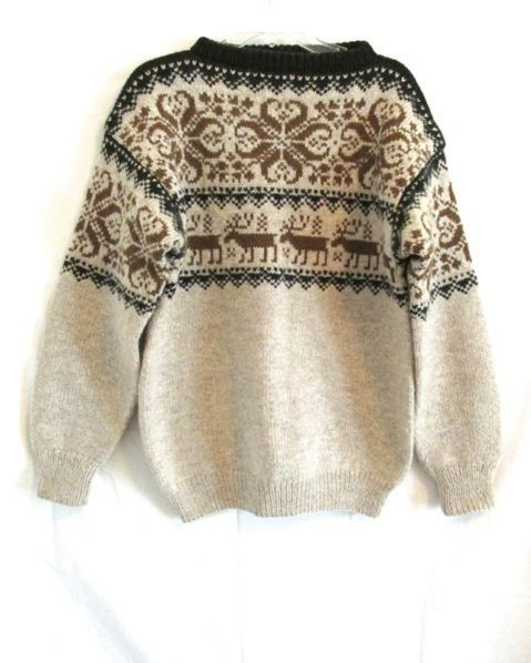 Vintage Saga Knit Hand Knit NORWAY Nordic Sweater Deer Snowflake S M 42 Chest #SagaKnit #BoatNeck