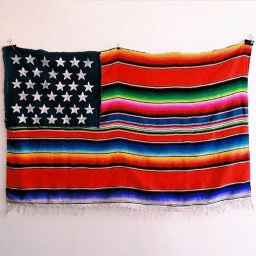 "mexandthecity:  "" M&TC:  This Mexican American flag by Nacho Becerra has us star struck! How do we get one? Also are we looking too into this if we counted 33 stars on this flag but Mexico has 32 states, so does that make the USA número 33rd?  Read his..."