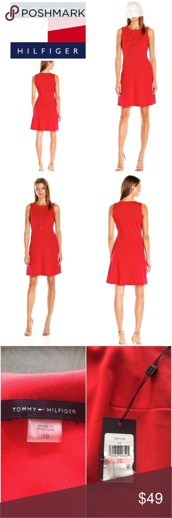 """New Tommy Hilfiger Red Dress New with tags, Tommy Hilfiger Red Sheath Dress. Gorgeous! New & never worn.   Size 10 Bust: 37"""" Waist: 29.5"""" Hips: 38"""" Some stretch   Originally bought for a client, I'm currently cleaning out my client closets. Open to offers on bundles. 15% off bundles of 3+. Shipping cost is the same with one or multiple items!   Free gift with every purchase! Your purchase goes towards the non-profit organization I'm founding! <3 Tommy Hilfiger Dresses"""