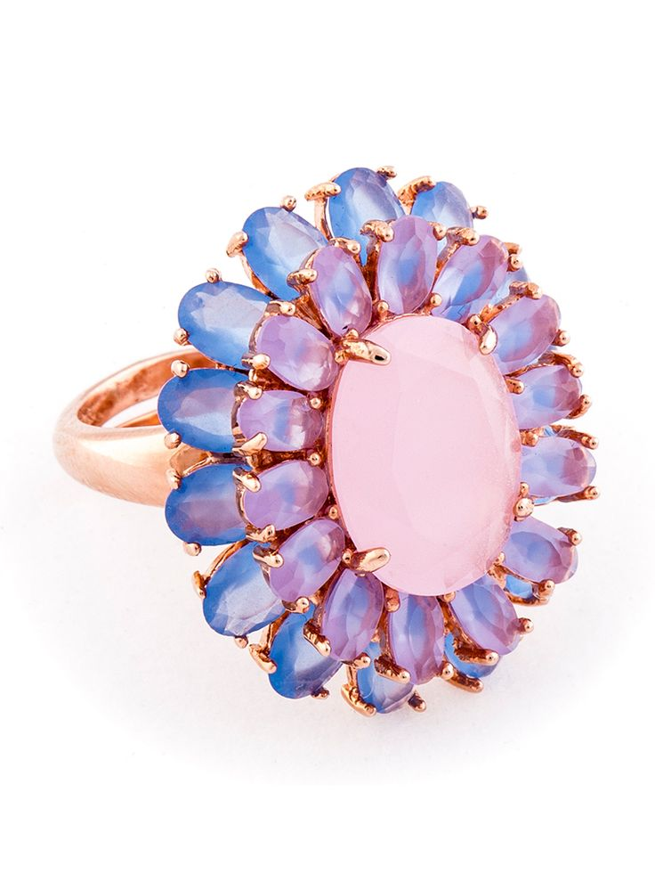Gold plated silver ring with rose quartz available at www.tresormaison.com