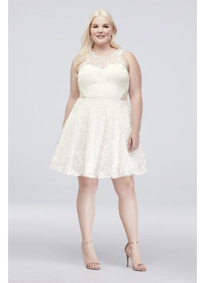 ea16d432e2e Short Lace Plus Size Dress with Crochet Lace Neck Style 3687YN1W ...