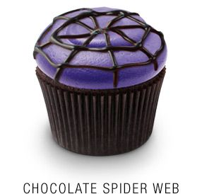 Georgetown Cupcake | DC Cupcakes | Menu | Valrhona chocolate cupcake baked with crushed toffee pieces, topped with purple buttercream frosting and fudge spider web drizzle
