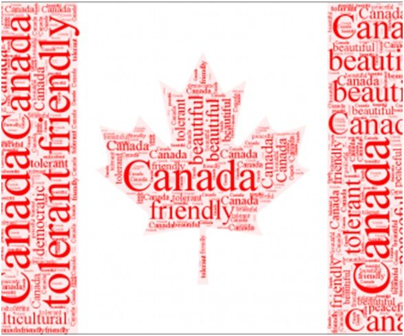 canada flag with words